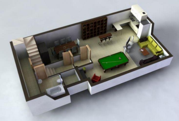 casas con sotano 3d