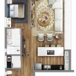 Plano de casa pequeña 35m2