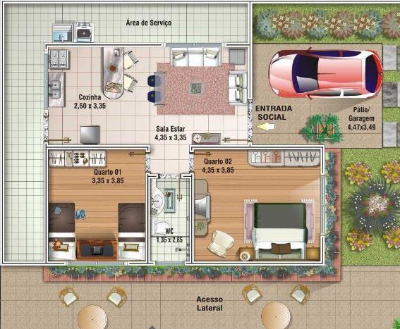Casas pequenas dos habitaciones baño en medio