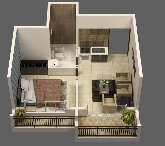 Modelos de departamentos de solteros for Diseno de apartamento de soltero