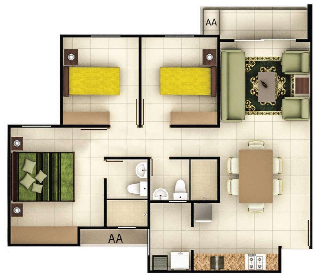 Modelos de planos de casas de 60m2 for Piso 60 metros cuadrados