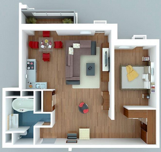 Modelos de departamentos de solteros for Planos de apartamentos modernos