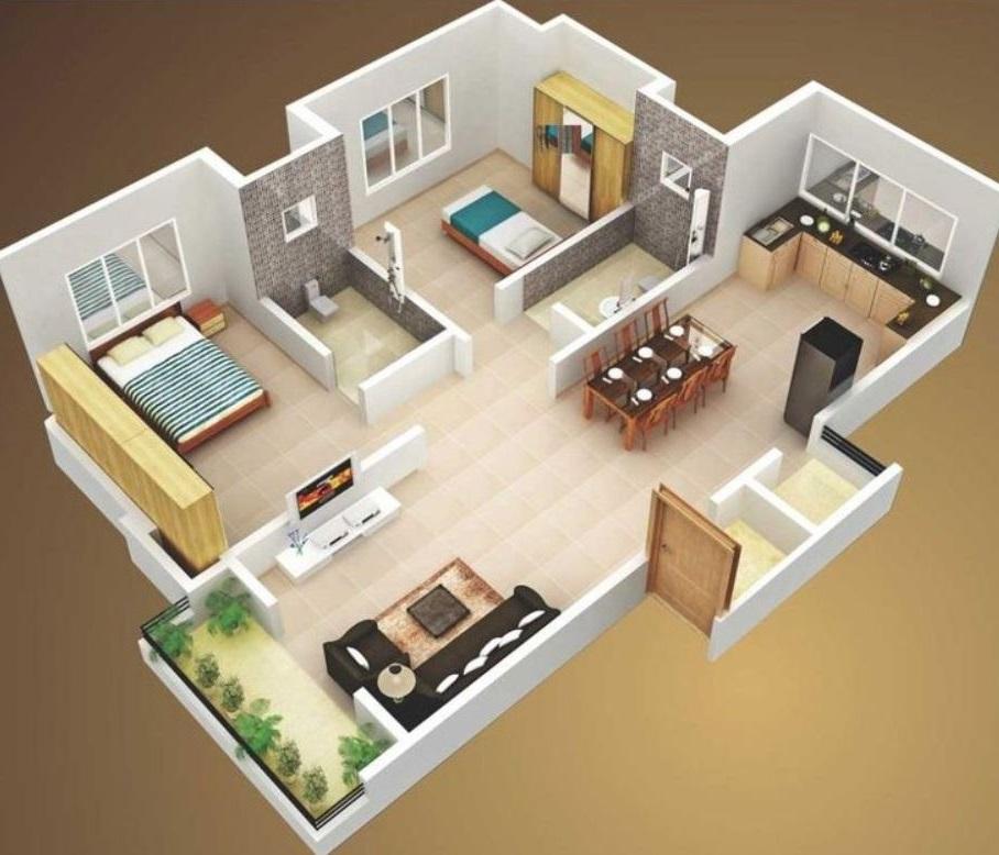 Casas geo planos de dos habitaciones cocina comedor ba o for Plano de pieza cocina y bano
