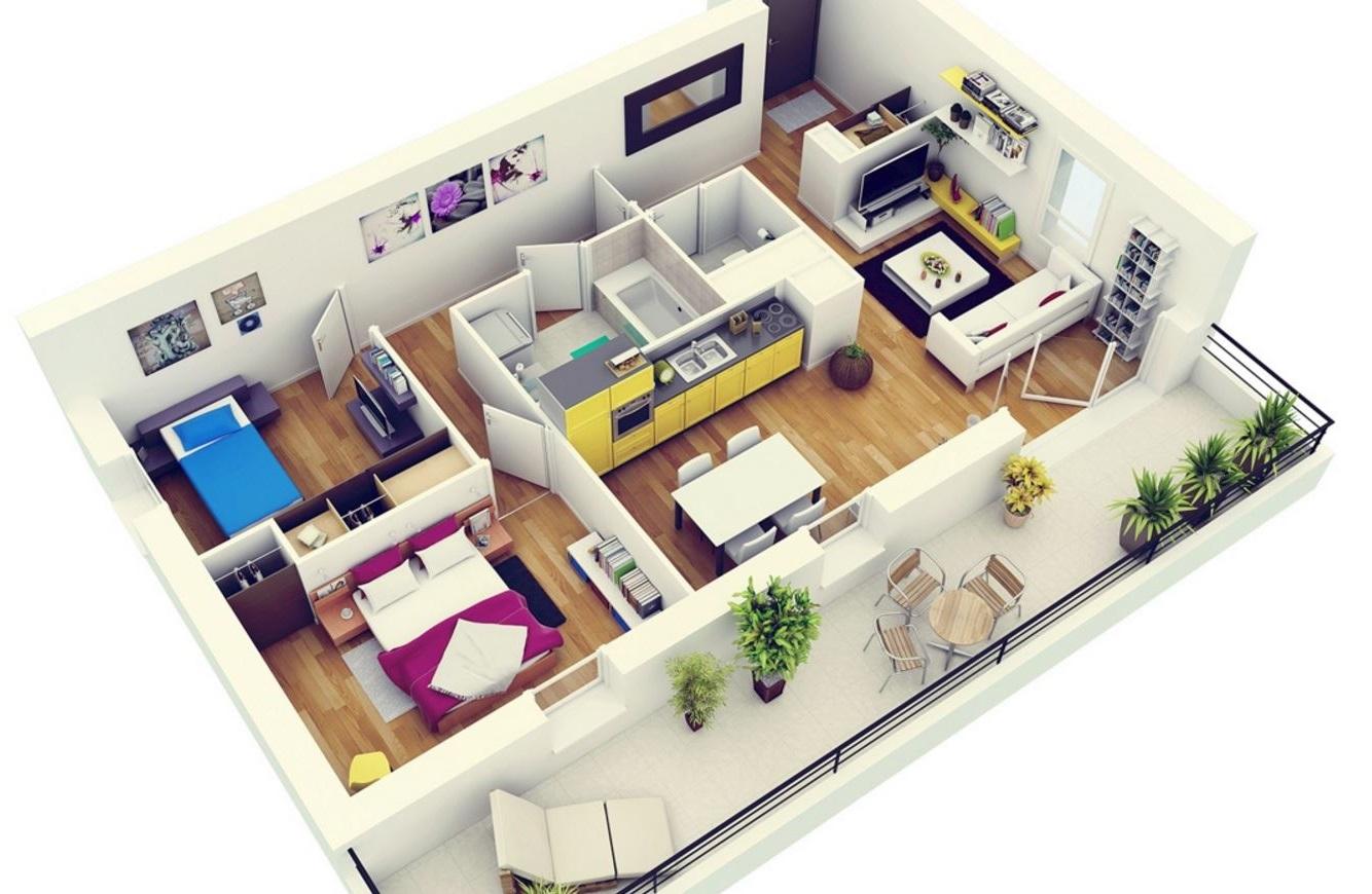 casas-geo-planos-de-dos-habitaciones