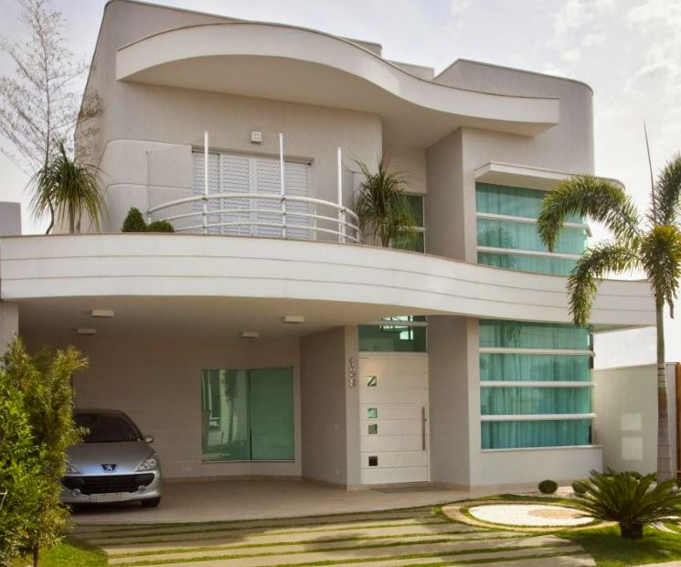 fachada de casas de dos pisos peque as con curva con 10