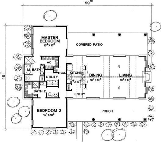 Plano De Sala Garas Dos Dormitorio Y Cocina Comedor