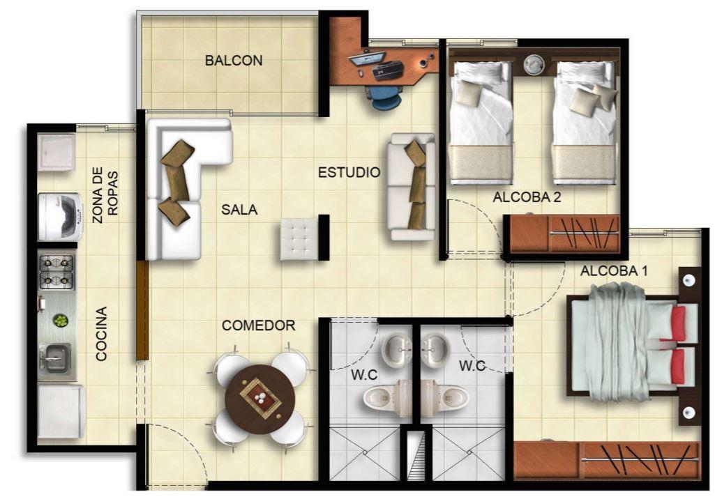 Planos de departamentos de 70m2 for Modelos de mini apartamentos