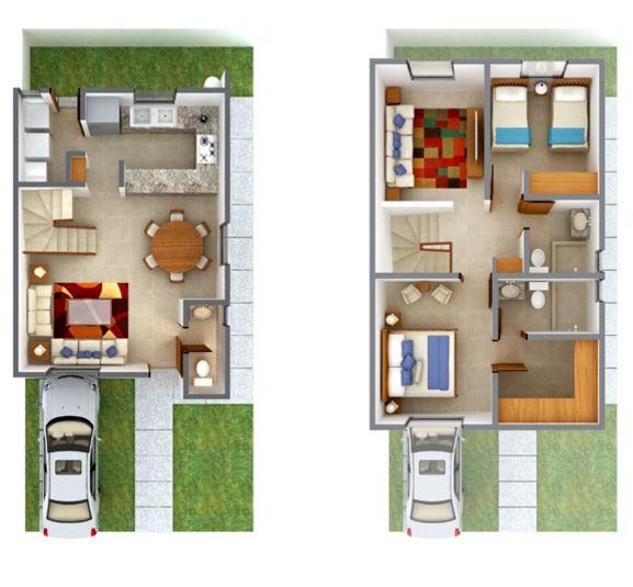 planos de casas rectangulares 2 plantas