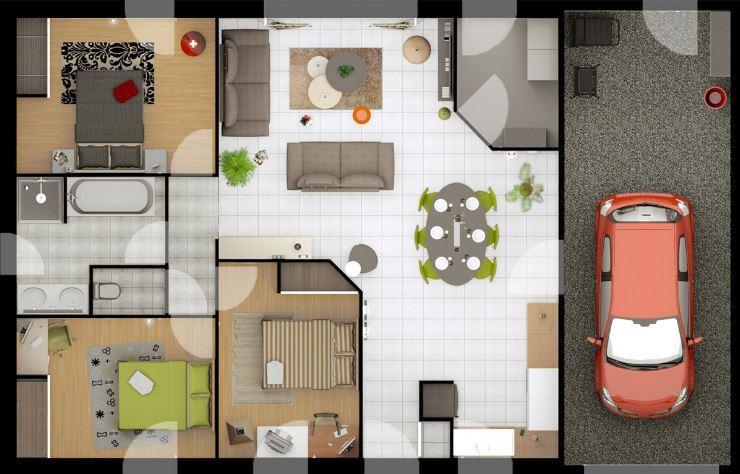 Planos de casa de 3 habitaciones y dos ba os de 86m2 for Bano 2 metros cuadrados