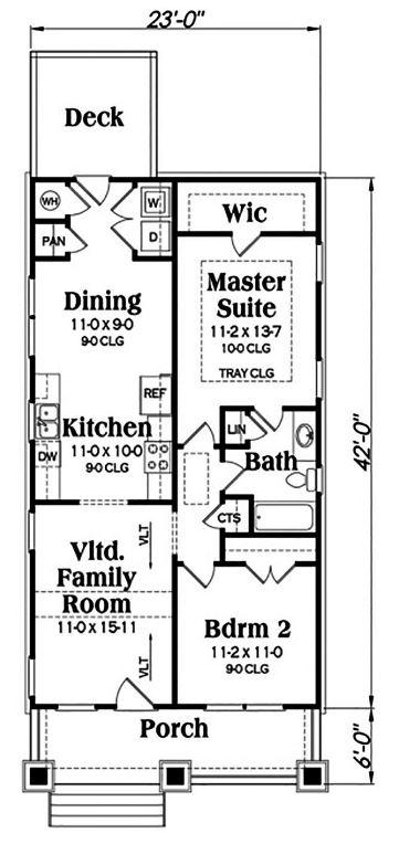 ver-plano-de-una-casa-sencilla-con-cocina-comedor-bano-y-dos-piezas-en-terreno-angosto-y-largo