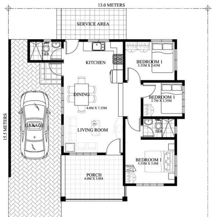 Dise os de casas de una planta con tres dormitorios econ micas for Planos de casas economicas de 3 dormitorios