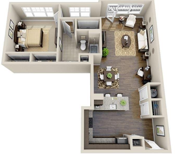 planos-de-casas-cocina-comedor-una-pieza-y-bano-en-3d-en-l