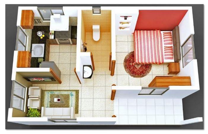 Planos de casas cocina comedor una pieza y ba o en 3d for Plano de pieza cocina y bano