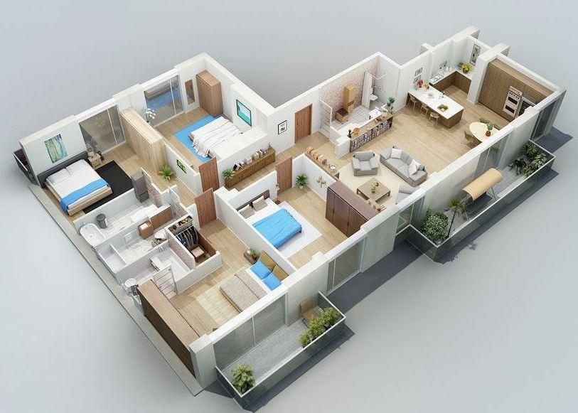 planos-de-departamentos-flat-de-160m2