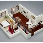 Planos de casas cocina comedor una pieza y baño en 3D
