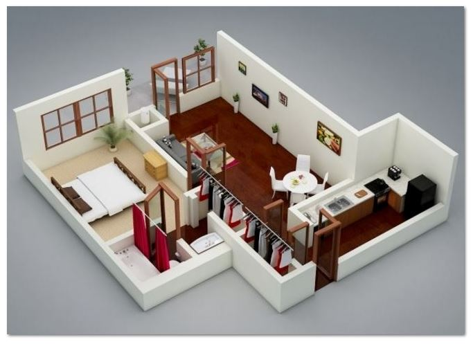 Croquis para una casa con un cuarto bano sala comedor for Planos de cocina y comedor