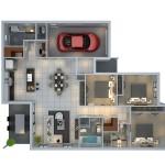 Planos de casas modernas en 3d con cochera