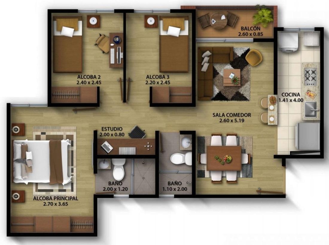 20 planos de departamentos con medidas for Diseno de apartamento de una habitacion
