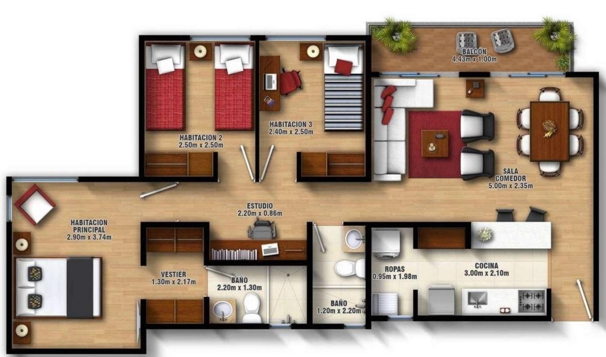 disenos-de-apartamentos-con-medidas