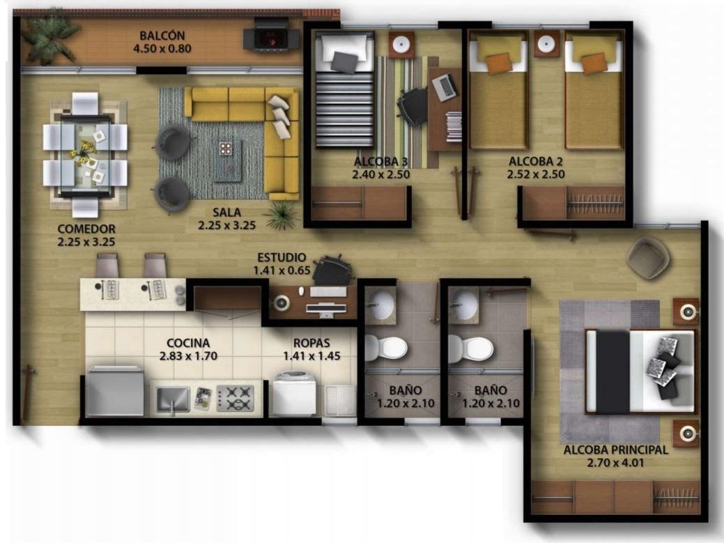 planos-de-apartamentos-con-medidas-en-metros
