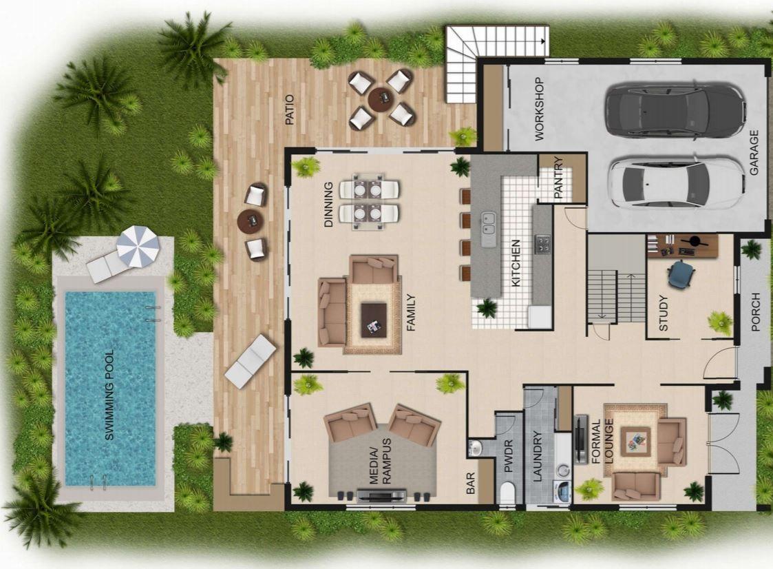 planos-de-casas-con-piscina-y-jardin