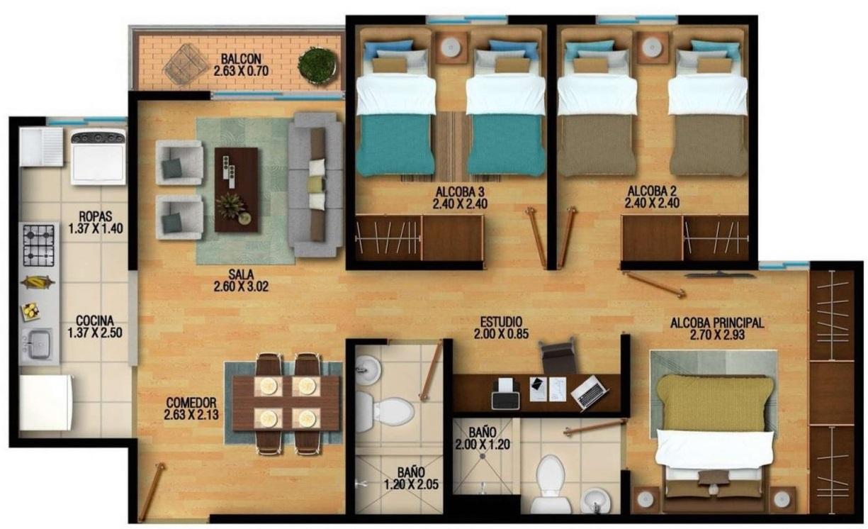 planos-de-casas-medianas-3-habitaciones