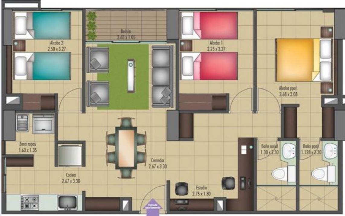 planos-de-casas-normales-con-muebles