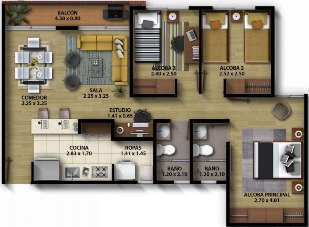 planos-de-departamentos-de-3-dormitorios-con-medidas