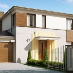Plano para casa de dos pisos con cochera y tres dormitorios