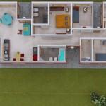 Plano de casa angosta para descargar y en 3D