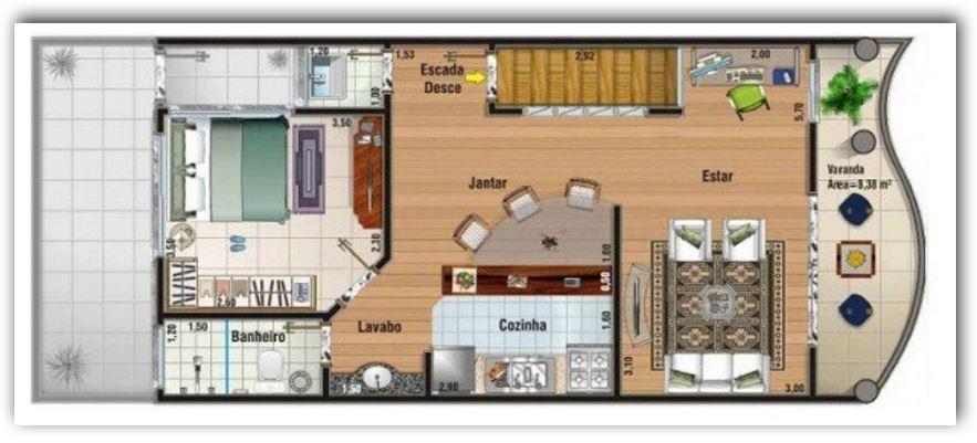 Plano Para Casa De Dos Plantas En La Primera Planta Tienda Garaje Cocina Living Comedor Estudio Bano Y Cuarto Para Visitas Con Medidas 90 Metros Cuadrados